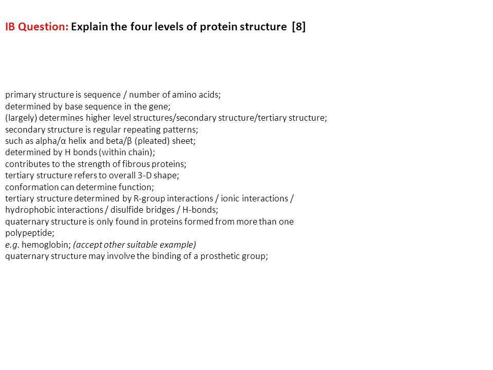 IB Question: Explain the four levels of protein structure [8]